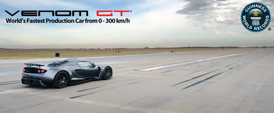 record of world fastest production car for speed from 0-300km/hr.